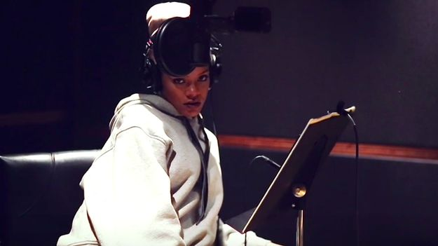 See Rihanna Drink, Smoke, And Crack Jokes While Recording 'Work'