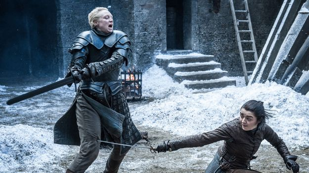mgid%3Aao%3Aimage%3Amtv.com%3A244390?quality=0 Maisie Williams And Gwendoline Christie Loved Their Game Of Thrones Sword Fight As Much As You Did - MTV Music News