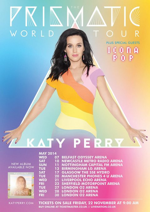 Katy Perry's Pristmatic World Tour poster and dates