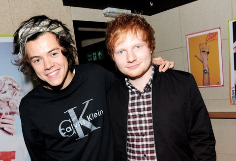 Harry Styles of One Direction and Ed Sheeran