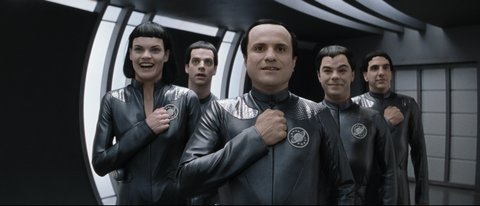 The friendly Thermians (from left): Missi Pyle, Patrick Breen, Enrico Colantoni, Jed Rees, Sam Lloyd.
