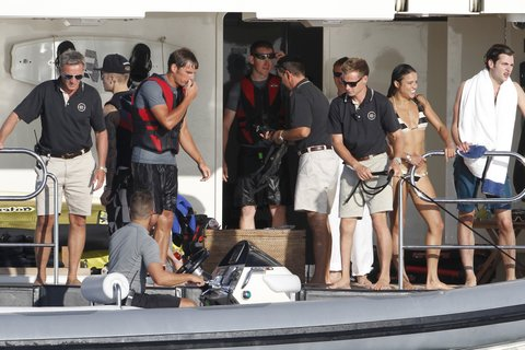 Justin Bieber and Michelle Rodriguez enjoy jet skiing and swimming just hours after Orlando Bloom got into an altercation with Justin at a restaurant in Ibiza
