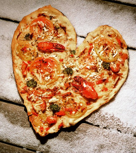 Heart-Shaped Pizza With Lobster