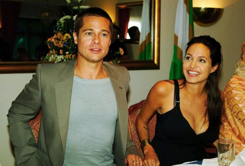 Hollywood couple Angelina Jolie (R) and