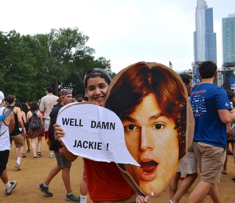 Ashton Kutcher poster at Lollapalooza