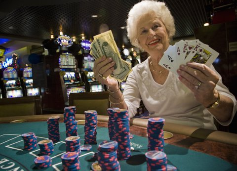 Mature Woman. (80 yr +). Casino. Gambling. Winning.