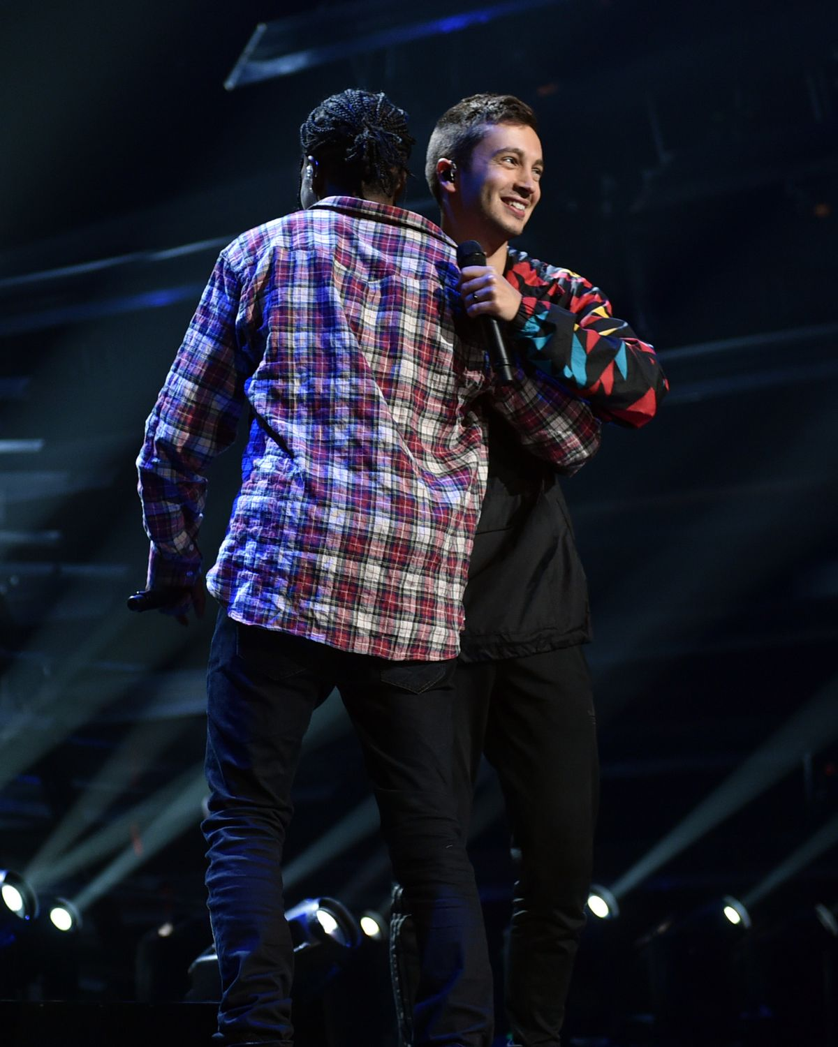 LOS ANGELES, CA - AUGUST 29:  Rapper ASAP Rocky (L) rehearses onstage with Tyler Joseph of Twenty One Pilots during rehearsals for the 2015 MTV Video Music Awards at Microsoft Theater on August 29, 2015 in Los Angeles, California.  (Photo by John Shearer/Getty Images for MTV.com)