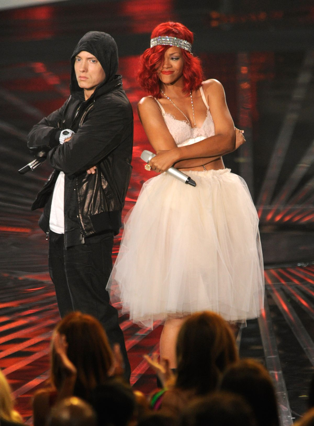 LOS ANGELES, CA - SEPTEMBER 12:  Eminem and Rihanna perform on stage at the 2010 MTV Video Music Awards held at Nokia Theatre L.A. Live on September 12, 2010 in Los Angeles, California.  (Photo by Kevin Mazur/EM/WireImage)