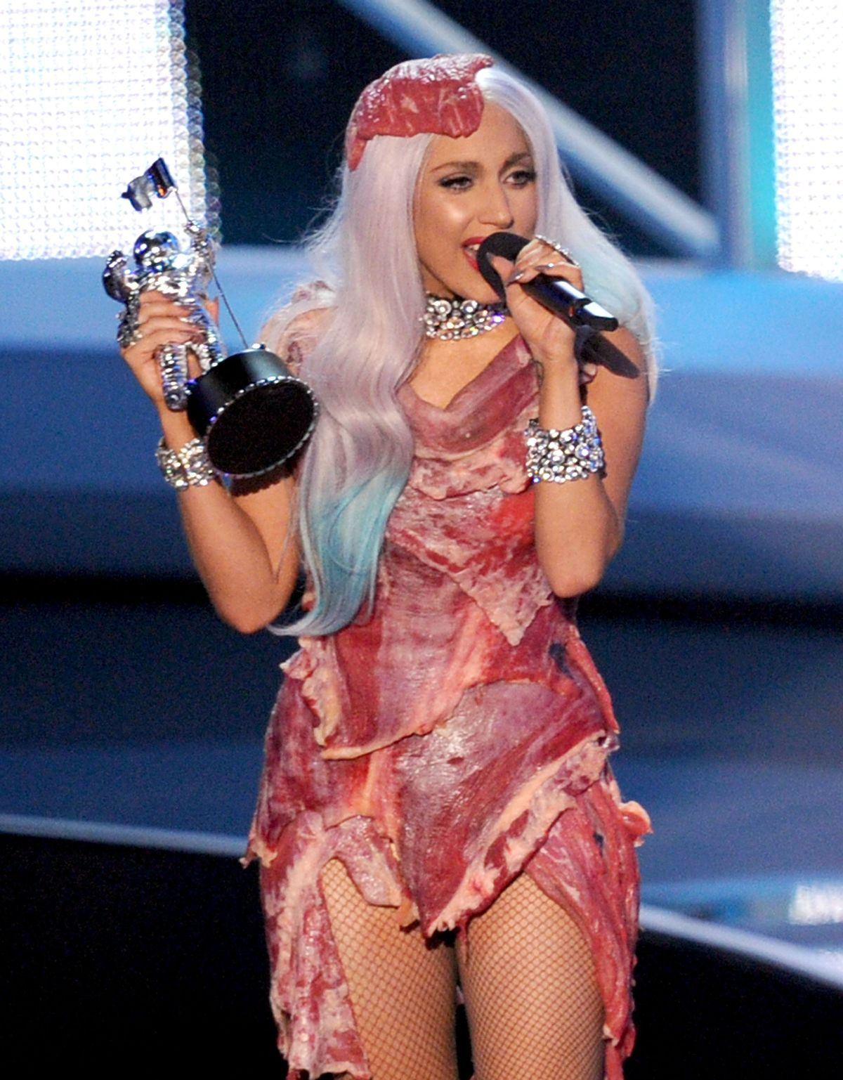 LOS ANGELES, CA - SEPTEMBER 12: Singer Lady Gaga accepts the Video of the Year award onstage during the 2010 MTV Video Music Awards at NOKIA Theatre L.A. LIVE on September 12, 2010 in Los Angeles, California. (Photo by Kevin Winter/Getty Images)