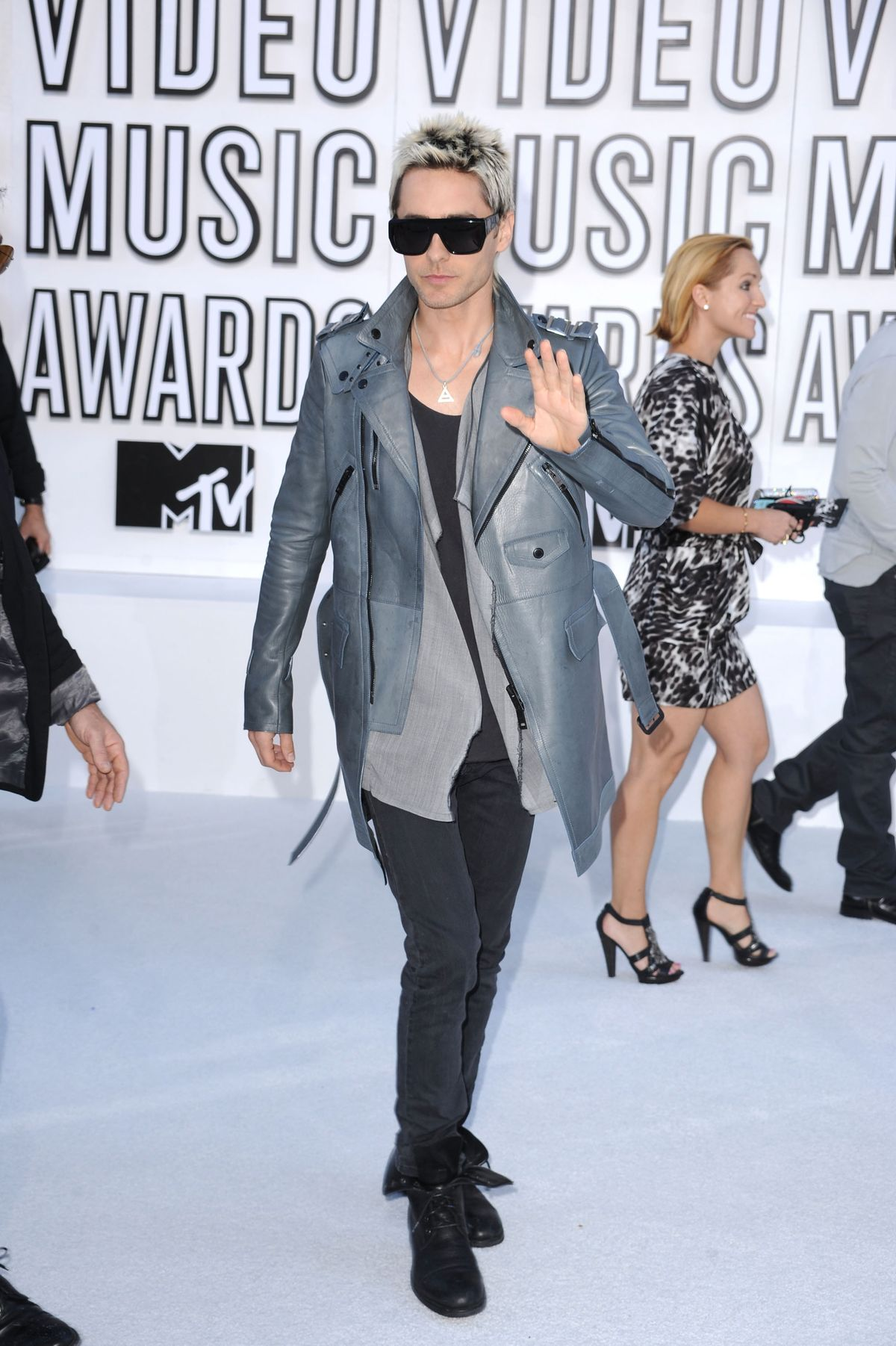 LOS ANGELES, CA - SEPTEMBER 12:  Singer Jared Leto of 30 Seconds to Mars arrives at the 2010 MTV Video Music Awards held at Nokia Theatre L.A. Live on September 12, 2010 in Los Angeles, California.  (Photo by Steve Granitz/WireImage)
