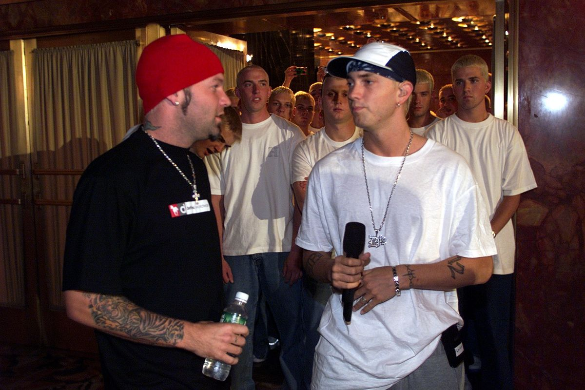 Fred Durst and Eminem at rehearsals during The 2000 MTV Video Music Awards at Radio City Music Hall in New York City, New York, United States. (Photo by KMazur/WireImage)