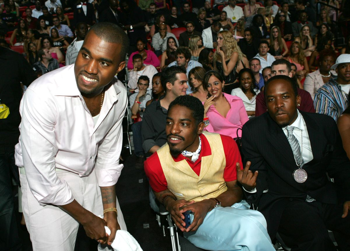 Kanye West with Andre 3000 and Big Boi of OutKast during 2004 MTV Video Music Awards - Show at American Airlines Arena in Miami, Florida, United States. (Photo by KMazur/WireImage)
