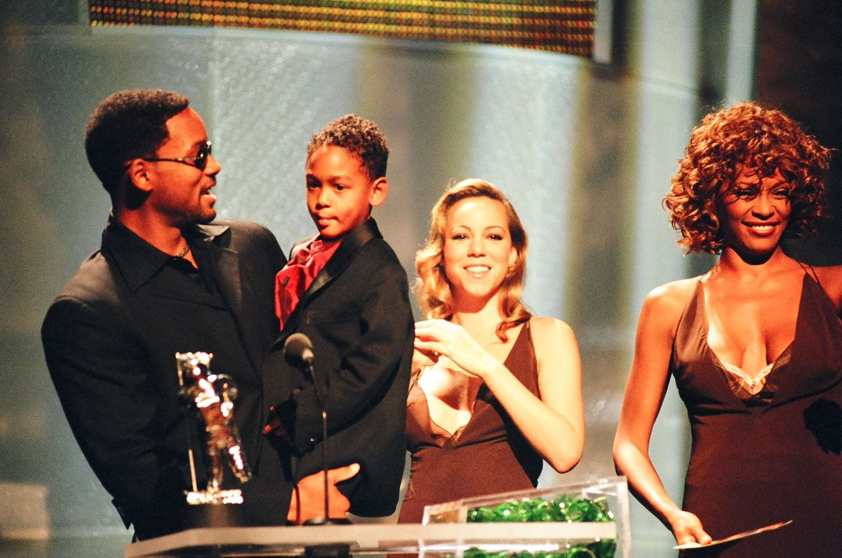 Will Smith, Trey Smith, Mariah Carey and Whitney Houston (Photo by Jeff Kravitz/FilmMagic, Inc)