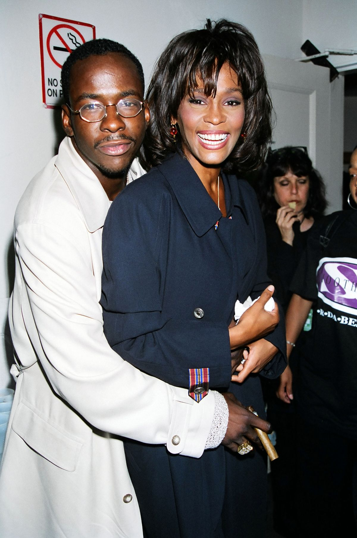 Bobby Brown & Whitney Houston during 1995 MTV Video Music Awards Show at Radio City Music Hall in New York City, New York, United States. (Photo by Jeff Kravitz/FilmMagic, Inc)