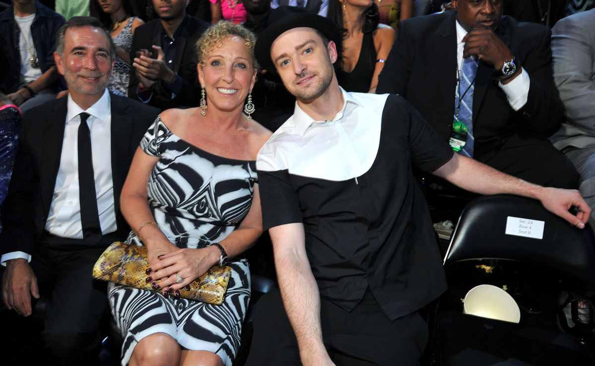 NEW YORK, NY - AUGUST 25: Lynn Harless and Justin Timberlake attend the 2013 MTV Video Music Awards at the Barclays Center on August 25, 2013 in the Brooklyn borough of New York City. (Photo by Kevin Mazur/WireImage for MTV)