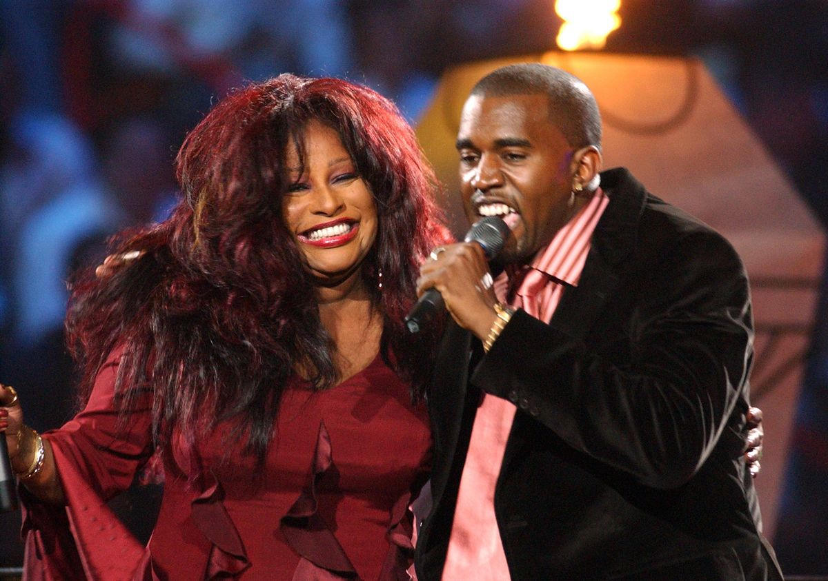 Chaka Khan and Kanye West during MTV VMA NEWSPAPER HANDOUTS at American Airlines Arena in Maimi, Florida, United States. (Photo by Jeff Kravitz/FilmMagic)