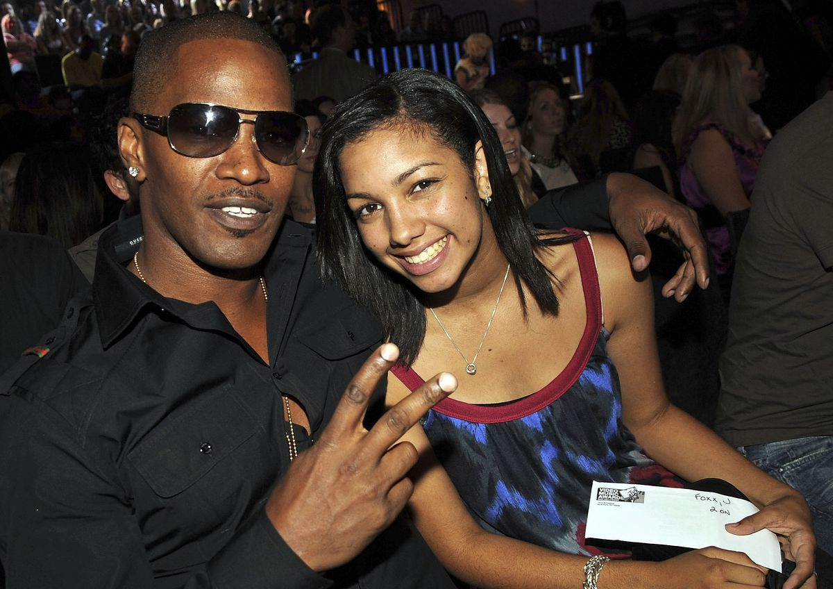 Actor Jamie Foxx and guest at the 2008 MTV Video Music Awards at Paramount Pictures Studios on September 7, 2008 in Los Angeles, California. (Photo by Jeff Kravitz/FilmMagic)