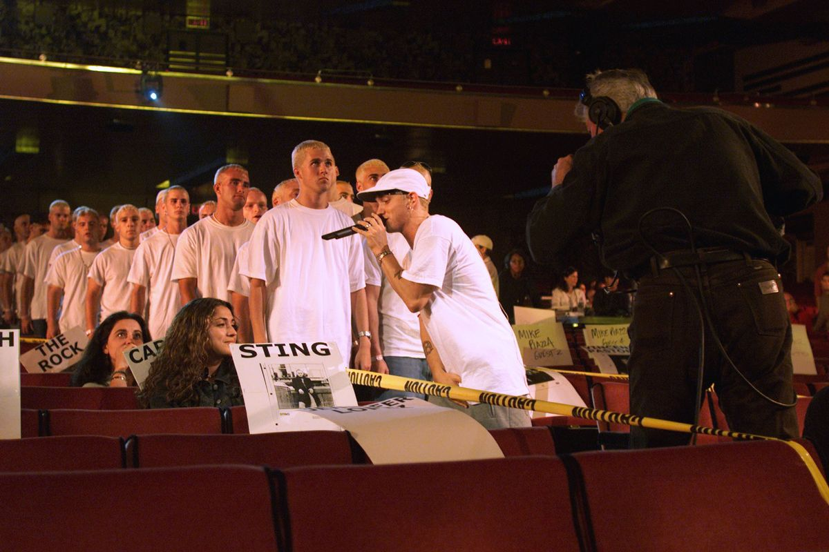 Eminem at rehearsals for the 2000 MTV Video Music Awards at Radio City Music Hall in New York City. 9/6/00 (Frank Micelotta/ImageDirect)