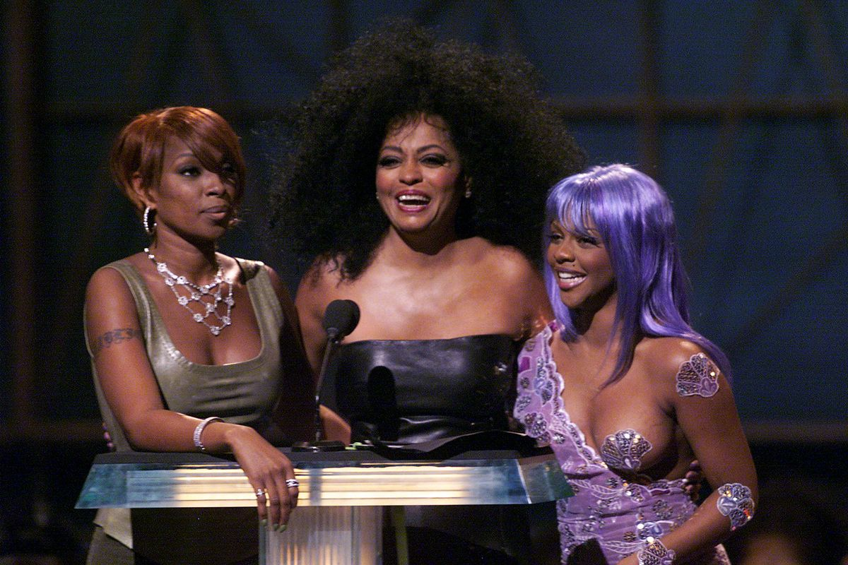 Singer Mary J Blige with Diana Ross and Rapper Lil Kim at the 1999 MTV Video Music Awards held in New York City, NY on September 9, 1999(Photo by Scott Gries/ImageDirect)