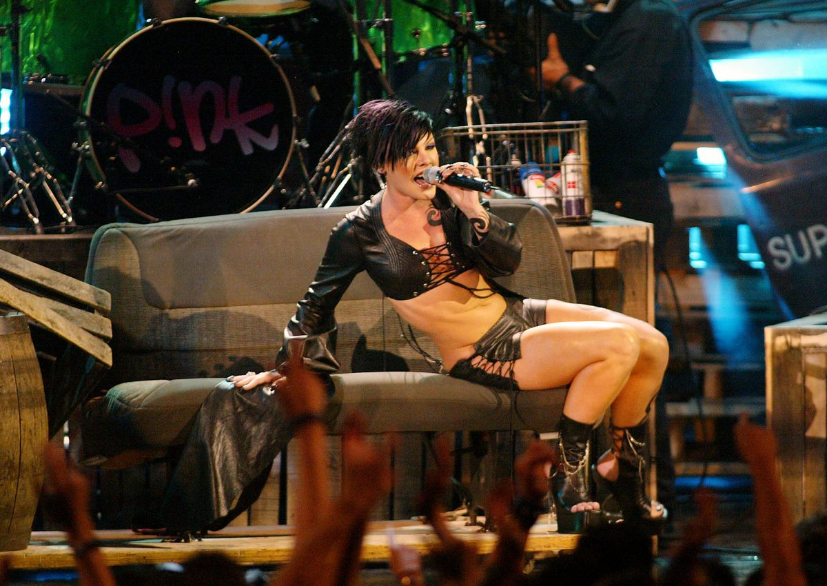 Pink performs at at the 2002 MTV Video Music Awards at Radio City Music Hall in New York City, August 29, 2002. Photo by Scott Gries/Getty Images.