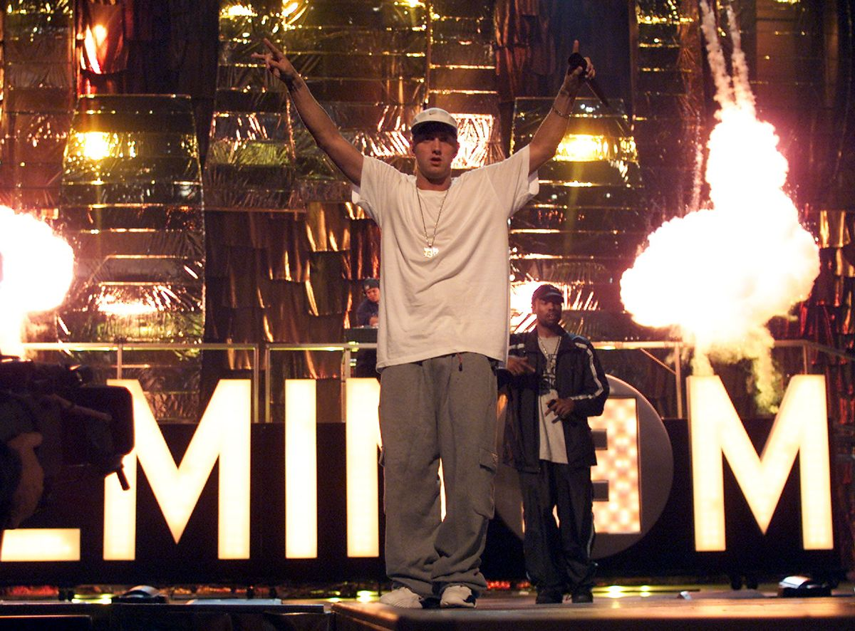 NEW YORK - SEPTEMBER 06:   Rapper Eminem attends rehearsals for the 2000 MTV Video Music Awards at Radio City Music Hall in New York City September 6, 2000. (Frank Micelotta/Getty Images)