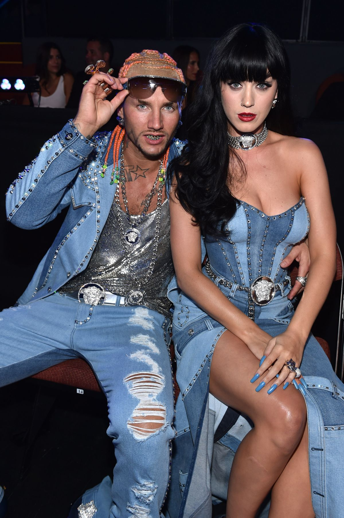 INGLEWOOD, CA - AUGUST 24: Katy Perry (R) and Riff Raff attend the 2014 MTV Video Music Awards at The Forum on August 24, 2014 in Inglewood, California. (Photo by MTV/MTV1415/Getty Images for MTV)