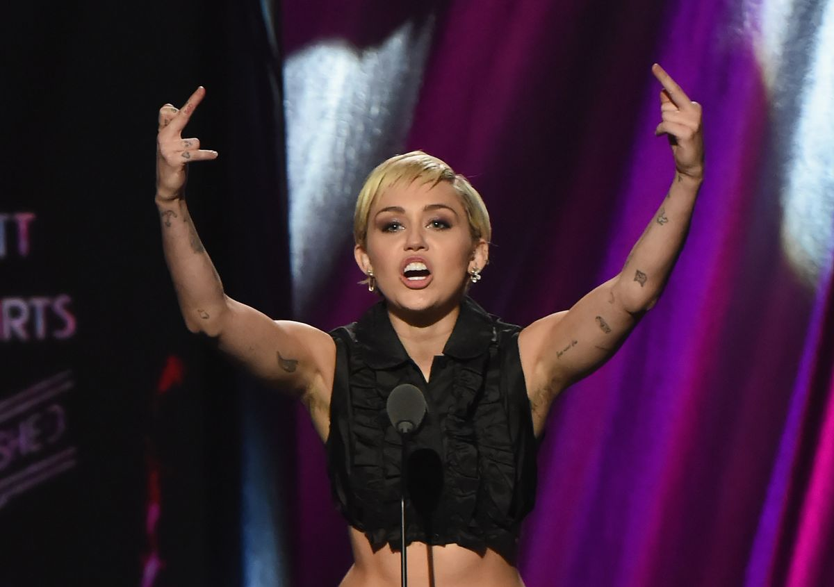 CLEVELAND, OH - APRIL 18: Miley Cyrus speaks onstage during the 30th Annual Rock And Roll Hall Of Fame Induction Ceremony at Public Hall on April 18, 2015 in Cleveland, Ohio. (Photo by Jeff Kravitz/FilmMagic)