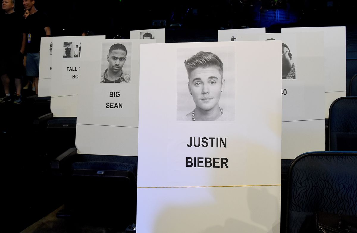 LOS ANGELES, CA - AUGUST 27: Name cards are seen during the press day for the 2015 MTV Video Music Awards at Microsoft Theater on August 27, 2015 in Los Angeles, California. (Photo by Kevin Winter/MTV1415/Getty Images For MTV)
