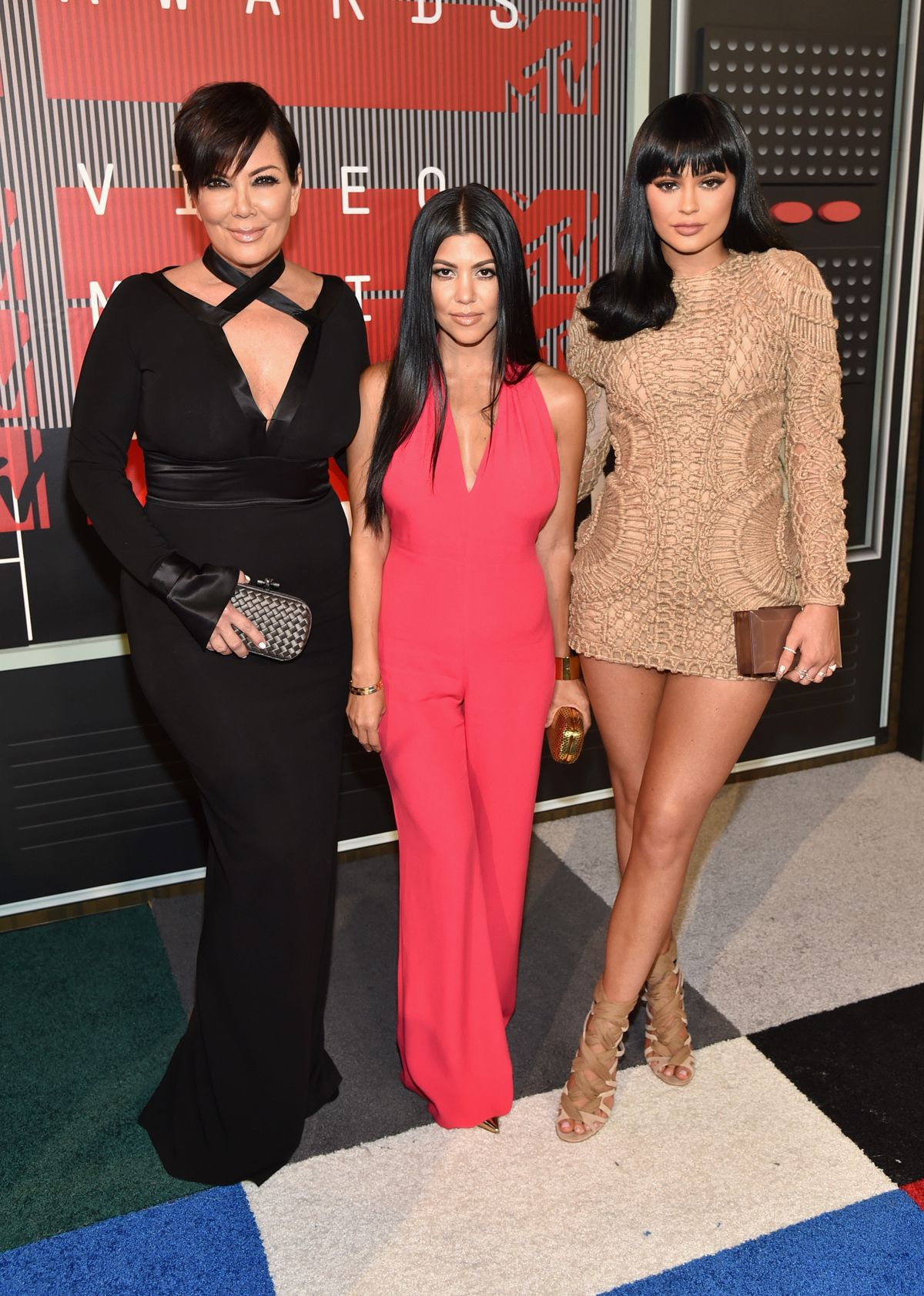 LOS ANGELES, CA - AUGUST 30:  (L-R) TV personalities Kris Jenner, Kourtney Kardashian and Kylie Jenner attend the 2015 MTV Video Music Awards at Microsoft Theater on August 30, 2015 in Los Angeles, California.  (Photo by John Shearer/Getty Images)