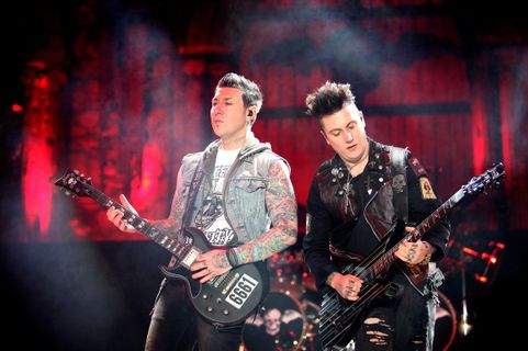 COLUMBUS, OH - MAY 17: Zacky Vengeance and Synyster Gates from Avenged Sevenfold performs at Columbus Crew Stadium on May 17, 2014 in Columbus, Ohio. (Photo By Raymond Boyd/Getty Images)