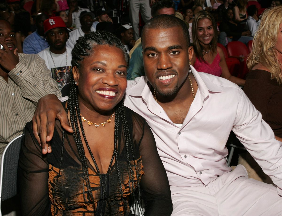 MIAMI - AUGUST 29: Kanye West and his mother attend the 2004 MTV Video Music Awards at the American Airlines Arena August 29, 2004 in Miami, Florida. (Photo by Frank Micelotta/Getty Images)