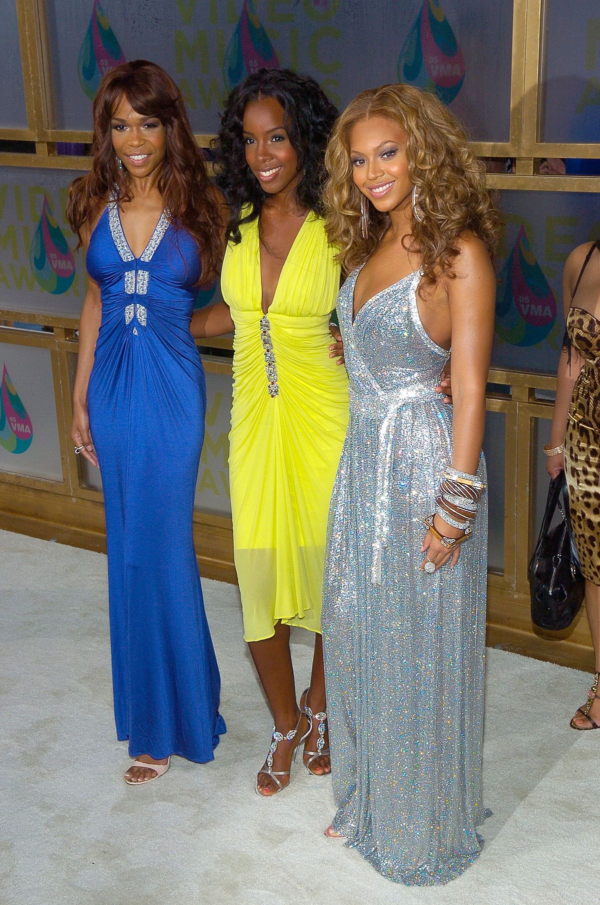 MIAMI - AUGUST 28: (L to R) Michelle Williams, Kelly Rowland and Beyonce Knowles of Destiny's Child arrive at the 2005 MTV Video Music Awards at the American Airlines Arena on August 28, 2005 in Miami, Florida. (Photo by Gustavo Caballero/Getty Images)