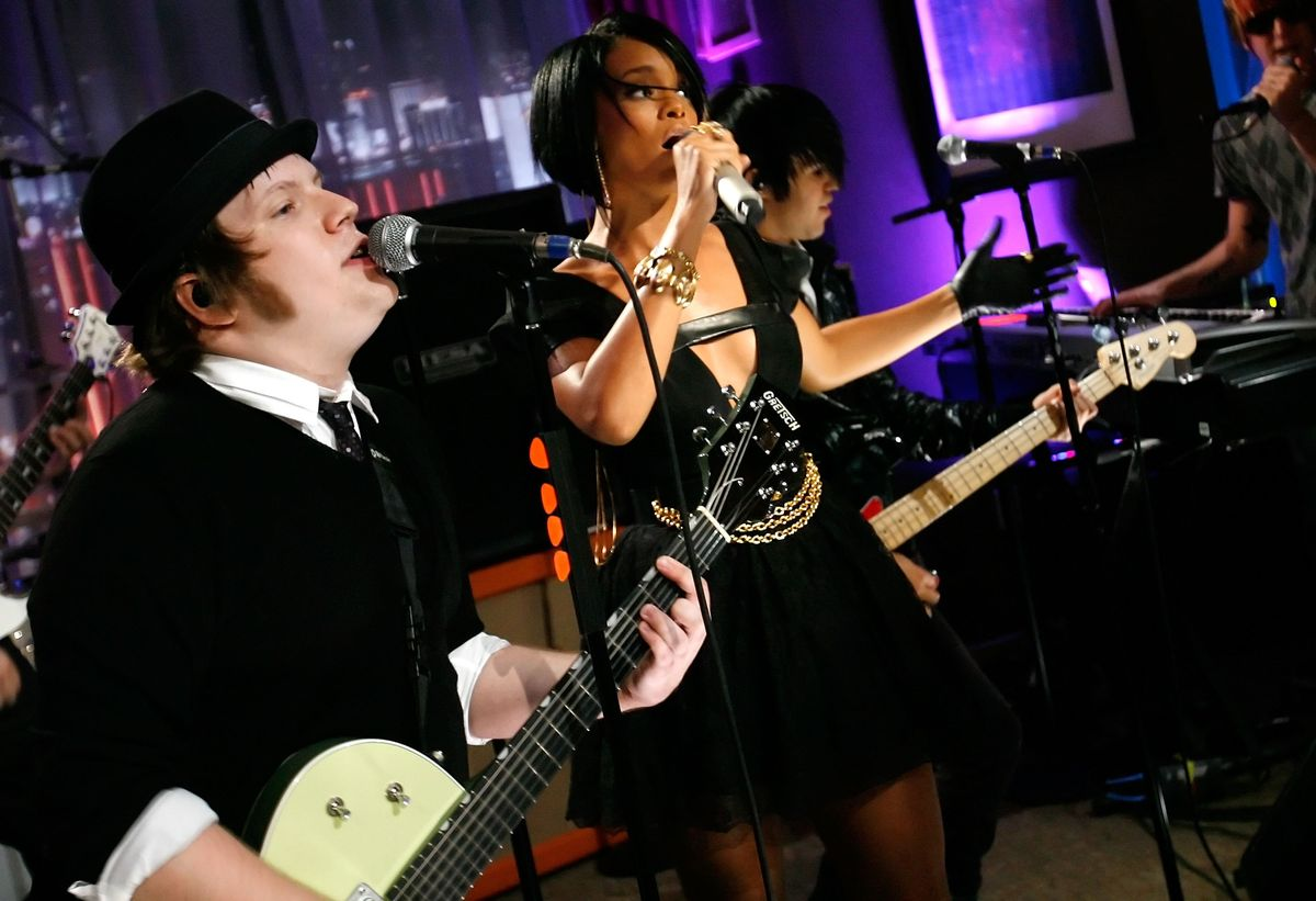 LAS VEGAS - SEPTEMBER 09:  (l-r) Musician Patrick Stump of Fall Out Boy and singer Rihanna perform in the Fantasy Lounge during the 2007 MTV Video Music Awards held at The Palms Hotel and Casino on September 9, 2007 in Las Vegas, Nevada.  (Photo by Michael Buckner/Getty Images)