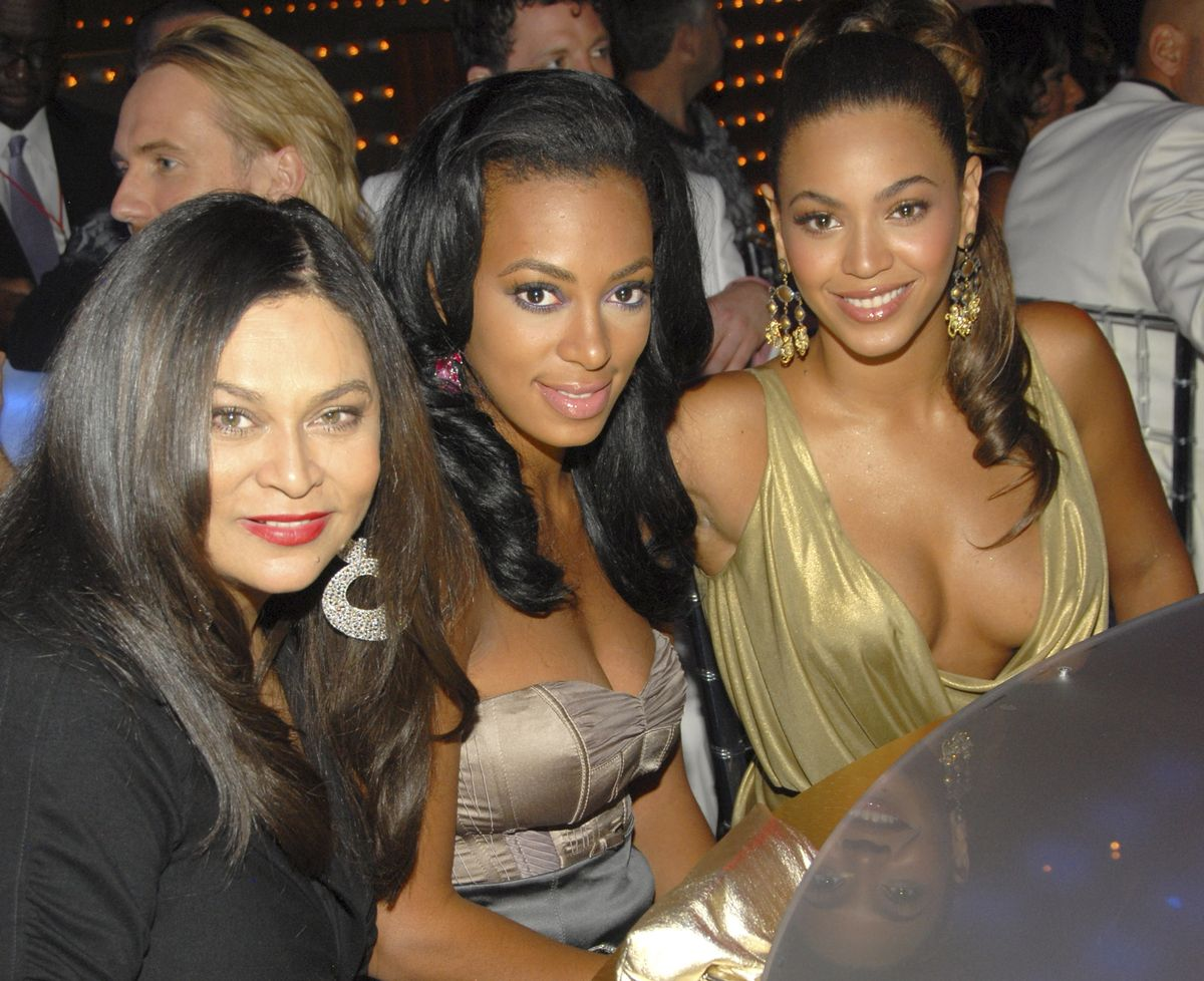 LAS VEGAS - SEPTEMBER 09: Designer Tina Knowles, Solange Knowles and Singer Beyonce at the 2007 MTV Video Music Awards at The Palms on September 9, 2007 in Las Vegas, Nevada. (Photo by Kevin Mazur/WireImage)