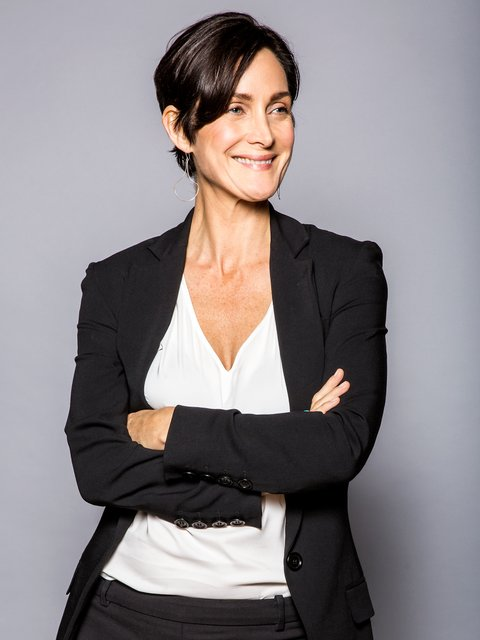 Carrie Anne Moss photographed for MTV News on November 17th, 2015 in New York, NY. Photographer: Liz Ribuffo/MTV News