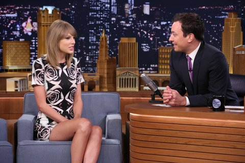THE TONIGHT SHOW STARRING JIMMY FALLON -- Episode 0107 -- Pictured: (l-r) Musician Taylor Swift during an interview with host Jimmy Fallon on August 13, 2014 -- (Photo by: Douglas Gorenstein/NBC/NBCU Photo Bank via Getty Images)