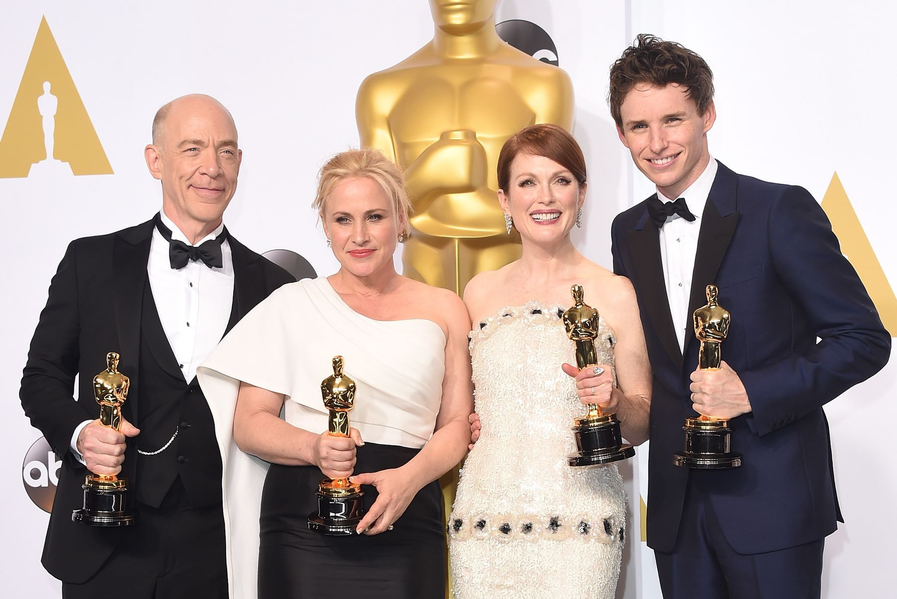 HOLLYWOOD, CA - FEBRUARY 22: (L-R) Actors J.K. Simmons, winner of the award for best actor in a supporting role for the film 'Whiplash', Patricia Arquette winner of the award for Best Actress in a Supporting Role for 'Boyhood', Julianne Moore winner for the Best Actress in a Leading Role Award for 'Still Alice', and Eddie Redmayne winner of the Best Actor in a Leading Role Award for 'The Theory of Everything' poses in the press room during the 87th Annual Academy Awards at Loews Hollywood Hotel on February 22, 2015 in Hollywood, California. (Photo by Jason Merritt/Getty Images)