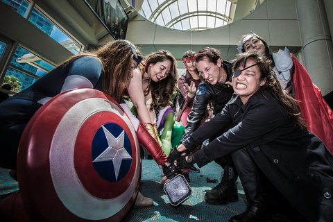 SAN DIEGO, CA - JULY 12:  (EDITORS NOTE: Image has been processed using digital filters)  A group of costumed fans attend Comic-Con International at San Diego Convention Center on July 12, 2015 in San Diego, California.  (Photo by Daniel Knighton/Getty Images)