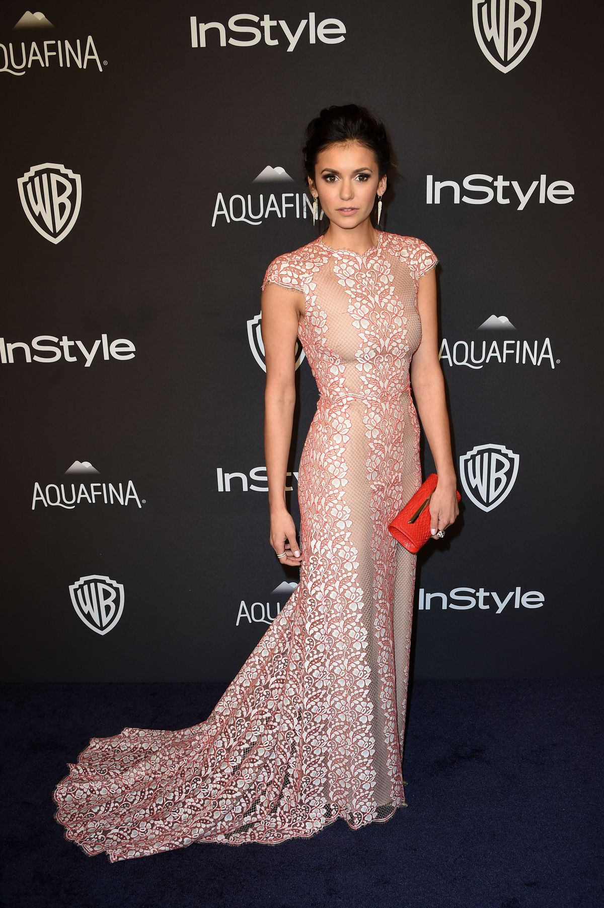 Actress Nina Dobrev attends the 2016 InStyle And Warner Bros. 73rd Annual Golden Globes after party, in Beverly Hills, California, on January 10, 2015. AFP PHOTO / Mark Ralston / AFP / MARK RALSTON (Photo credit should read MARK RALSTON/AFP/Getty Images)