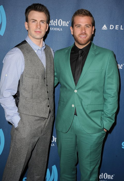 LOS ANGELES, CA - APRIL 20: Chris Evans and Scott Evans arrives at the 24th Annual GLAAD Media Awards at JW Marriott Los Angeles at L.A. LIVE on April 20, 2013 in Los Angeles, California. (Photo by Steve Granitz/WireImage)