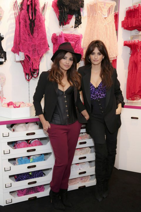 LONDON, UNITED KINGDOM - FEBRUARY 12: Monica and Penelope Cruz attends the opening of the 1st L'Agent by Agent Provocateur London Boutique at L'Agent by Agent Provocateur London Boutique on February 12, 2015 in London, England. (Photo by Darren Gerrish/WireImage)