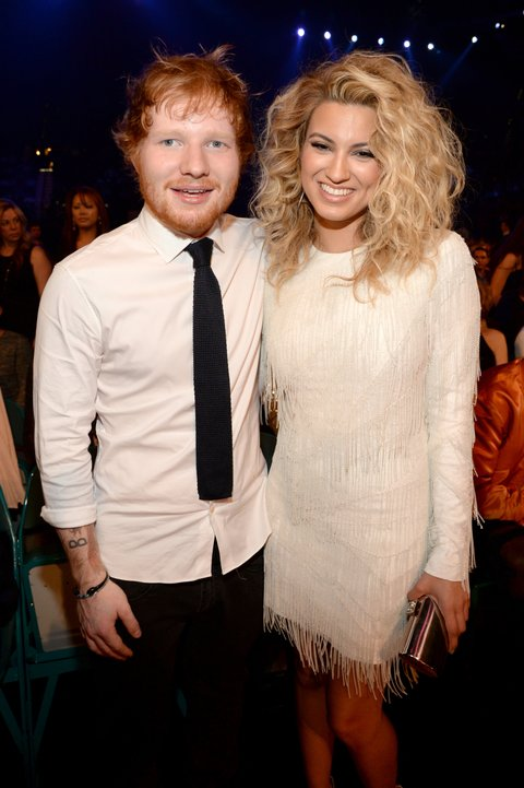 LAS VEGAS, NV - MAY 17:  Recording artists Ed Sheeran (L) and Tori Kelly attend the 2015 Billboard Music Awards at MGM Grand Garden Arena on May 17, 2015 in Las Vegas, Nevada.  (Photo by Kevin Mazur/BMA2015/WireImage)