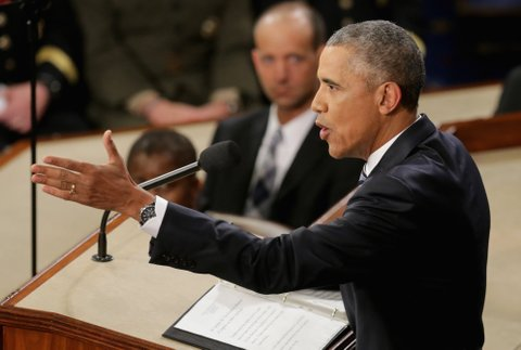WASHINGTON, DC - JANUARY 12: U.S. President Barack Obama gestures as he delivers the State of the Union speech before members of Congress in the House chamber of the U.S. Capitol January 12, 2016 in Washington, DC. In his last State of the Union, President Obama reflected on the past seven years in office and spoke on topics including climate change, gun control, immigration and income inequality. (Photo by Chip Somodevilla/Getty Images)