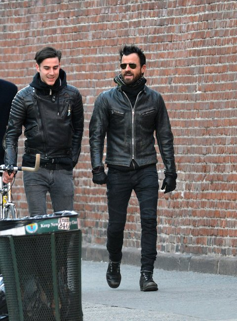 Justin Theroux walks with his brother, Sebastian in NYC Pictured: Justin Theroux and Sebastian. Ref: SPL505715 040313 Picture by: Splash News Splash News and Pictures Los Angeles:310-821-2666 New York:212-619-2666 London:870-934-2666 photodesk@splashnews.com