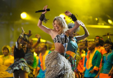 JOHANNESBURG, SOUTH AFRICA - JUNE 10: Shakira performs a song during the kick-off celebration concert for the 2010 FIFA World Cup at the Orlando Stadium on June 10, 2010 in Soweto, South Africa. (Photo by Stuart Franklin/Getty Images)
