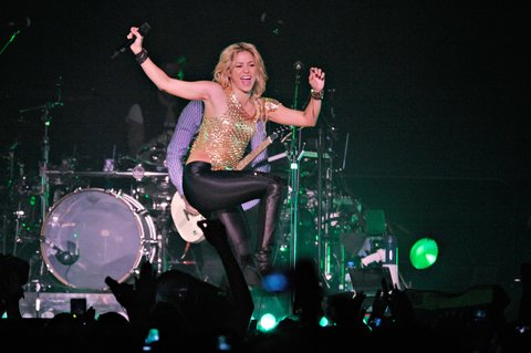 COLOGNE, GERMANY - DECEMBER 11: Shakira performs on stage at the Lanxess-Arena on December 11, 2010 in Cologne, Germany. (Photo by Peter Wafzig/Getty Images)
