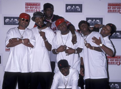 Rappers Juvnele, B.G., Turk, Birdman, Lil Wayne of the Hot Boys and producer Mannie Fresh attend The Source Hip-Hop Music Awards on August 18, 1999 at the Pantages Theater in Hollywood, California. (Photo by Ron Galella, Ltd./WireImage)