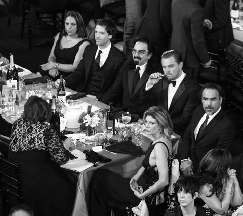 (EDITORS NOTE: Image has been converted to black and white) LOS ANGELES, CA - JANUARY 30: Actor Leonardo DiCaprio (2nd-R) attends The 22nd Annual Screen Actors Guild Awards at The Shrine Auditorium on January 30, 2016 in Los Angeles, California.  (Photo by Mark Davis/Getty Images for Turner)