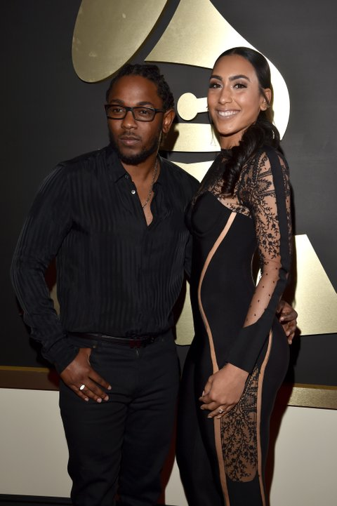 LOS ANGELES, CA - FEBRUARY 15: Recording artist Kendrick Lamar (L) and Whitney Alford attend The 58th GRAMMY Awards at Staples Center on February 15, 2016 in Los Angeles, California. (Photo by Lester Cohen/WireImage)