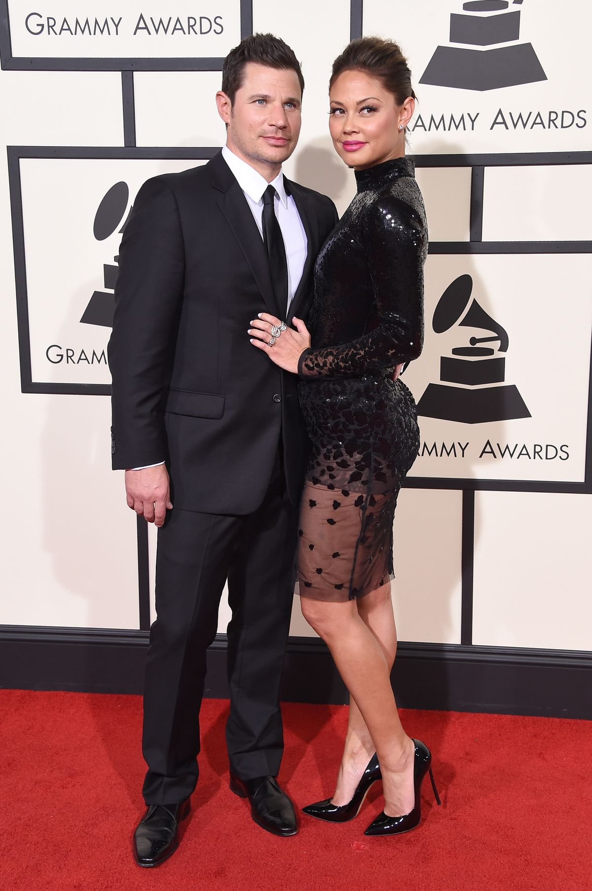 LOS ANGELES, CA - FEBRUARY 15: Recording artist/TV personality Nick Lachey (L) and TV personality Vanessa Lachey attend The 58th GRAMMY Awards at Staples Center on February 15, 2016 in Los Angeles, California. (Photo by Steve Granitz/WireImage)